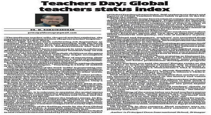 Teachers Day Special Article by DIS Principal